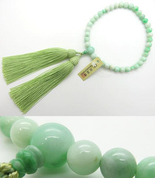 女性用のお数珠 糸魚川翡翠 7mm玉 共仕立て 鑑別書付き