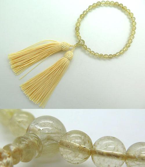 数珠 女性用 金線水晶 ルチル水晶 7.5mm玉 共仕立て