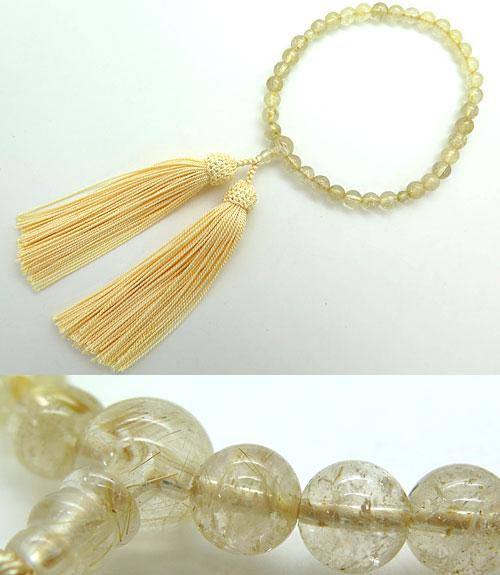 数珠 女性用 金線水晶 ルチル水晶 7.5mm玉 共仕立て 金運上昇 パワーストーン 限定品