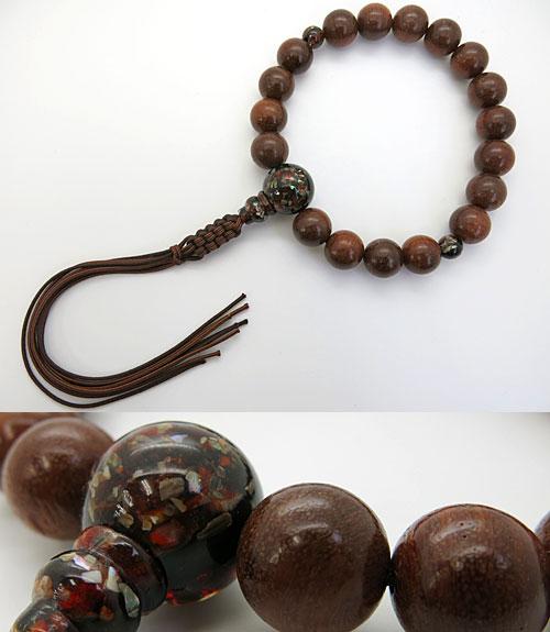 男性用のお数珠 アンバーウッド 18玉 再生螺鈿琥珀仕立て紐房