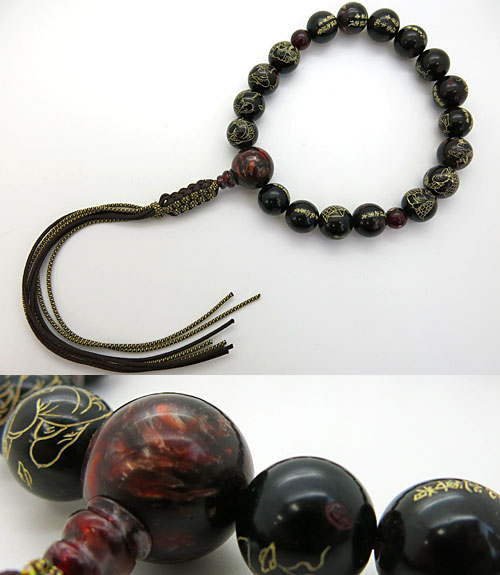 男性用のお数珠 圧縮琥珀 18玉 羅漢彫り 再生螺鈿琥珀仕立て 限定品