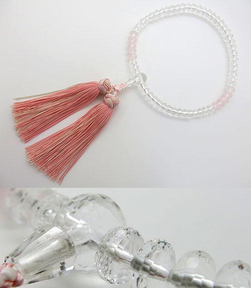 女性用のお数珠 水晶 ミカン玉 切子 紅石英2トーン仕立て