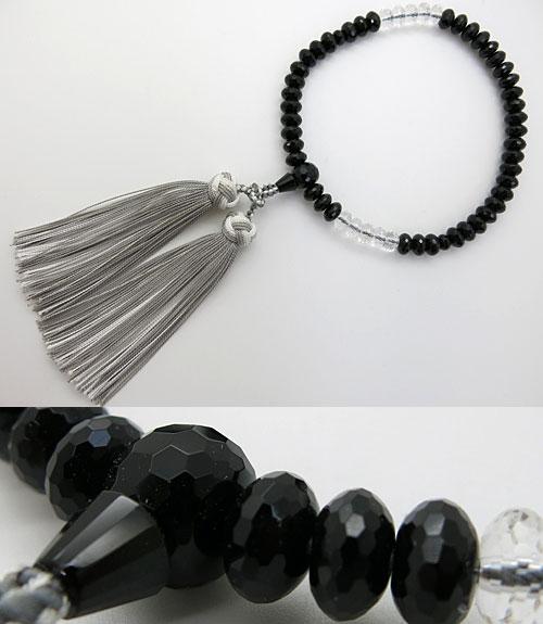 女性用のお数珠 ブラックスピネル ミカン玉 切子 水晶2トーン仕立て