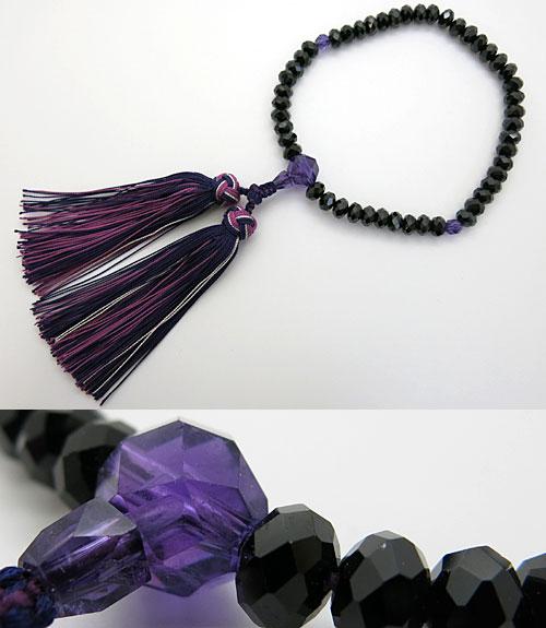 女性用のお数珠 ブラックスピネル ミカン玉 切子 紫水晶切子仕立て