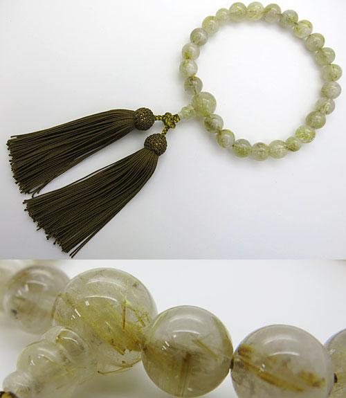男性用のお数珠 ルチル水晶(金線入り水晶) 22玉 共仕立て