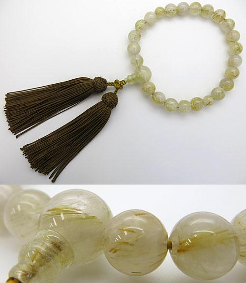 【ポイント10倍&お香プレゼント中】 男性用のお数珠 ルチル水晶(金線入り水晶) 22玉 共仕立て