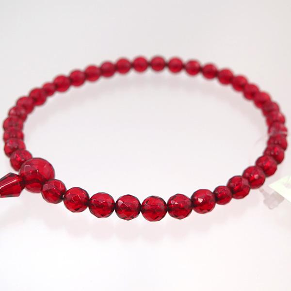 女性用数珠 ルビーアンバー 切子カット 共仕立て 限定品