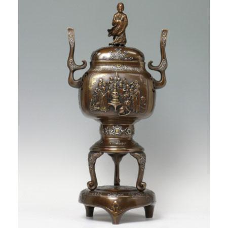 高岡銅器 香炉 十六羅漢香炉