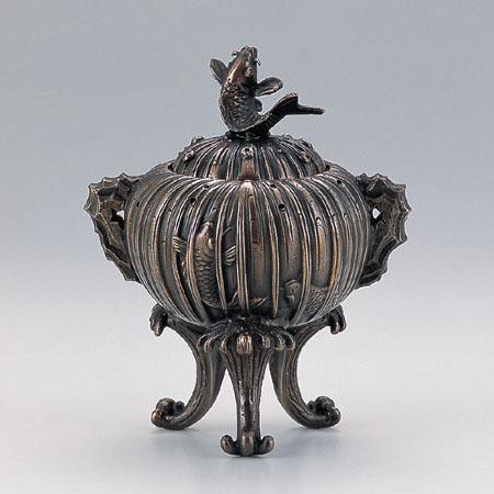 高岡銅器 香炉 鯉の滝登り香炉