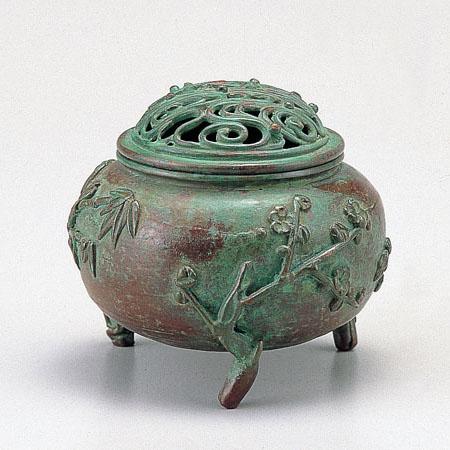 高岡銅器 香炉 玉形三友文香炉 焼青銅色