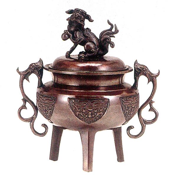 高岡銅器 香炉 大和型獅子蓋香炉 小 徳色
