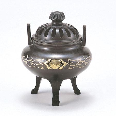 高岡銅器 香炉 利久型香炉 大 彫金唐草