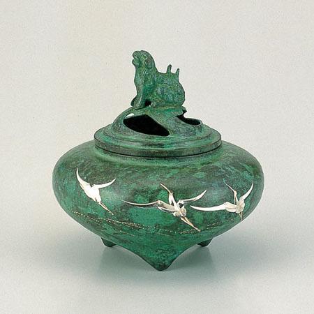 高岡銅器 香炉 平型香炉 波鶴 焼青銅色