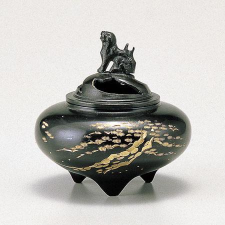 高岡銅器 香炉 平型香炉 松 古手色