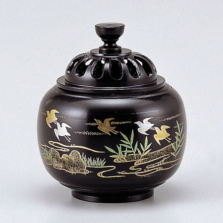 高岡銅器 香炉 玉胴型香炉 波千鳥 蒔絵