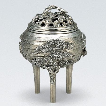 高岡銅器 香炉 吉祥松竹梅香炉 銀メッキ