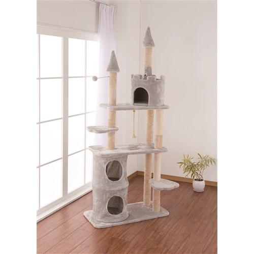 キャットツリー19 キャッスルKTS12-8961 キャットタワー 省スペース 据え置き スリム おしゃれ 小型猫 大型猫 シニア コーナン