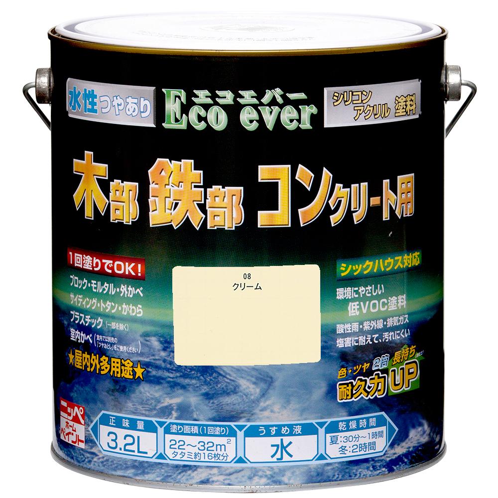 ニッペホームプロダクツ 水性エコエバー クリーム 3.2L