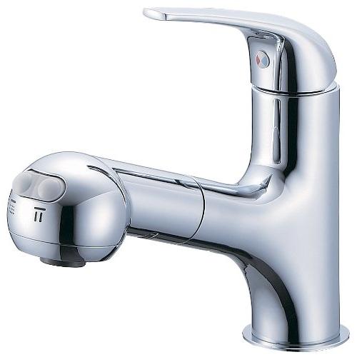 SANEI (三栄水栓) SANEI 【洗面所用混合栓】シングルスプレー混合栓 洗髪用 引出しホース式 1m K3703JV標準地仕様