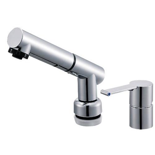 SANEI (三栄水栓) SANEI 【洗面所用混合栓】 シングルスプレー混合栓 洗髪用 引き出しホースの長さ1.2M
