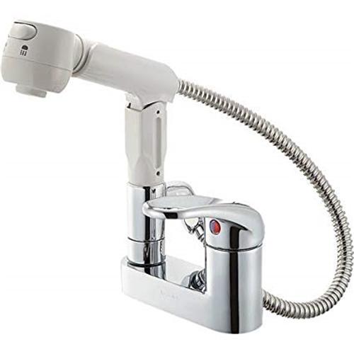 SANEI (三栄水栓) SANEI 【洗面所用混合栓】 シングルスプレー混合栓 寒冷地用 スプレー式シャワー 寒冷地仕様
