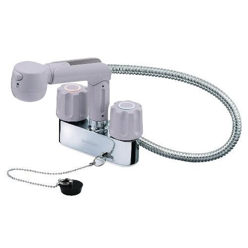 SANEI (三栄水栓) SANEI 【洗面用混合栓(寒冷地仕様)】 ツーバルブスプレー混合栓 洗髪用 ゴム栓付き K31KR-LH