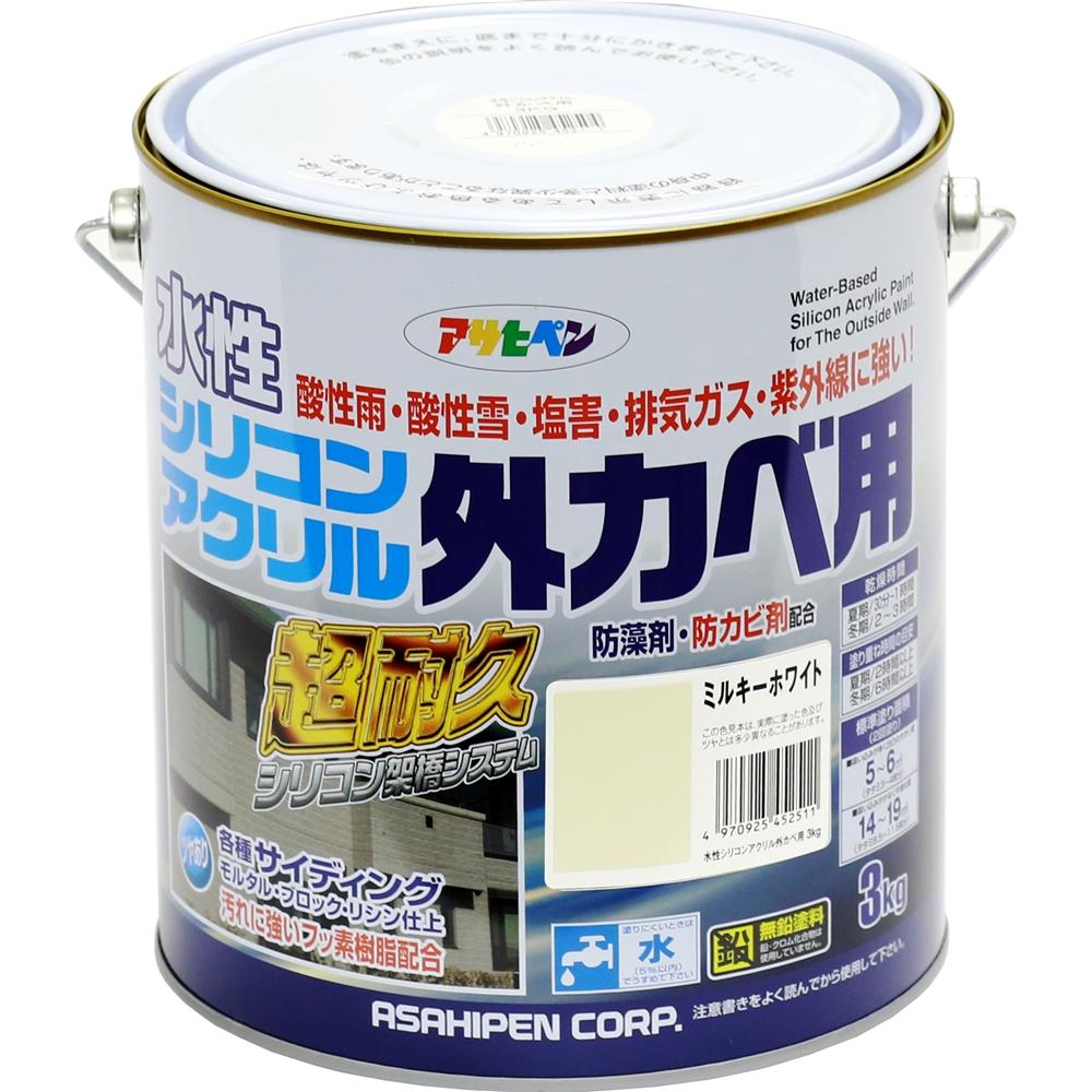 アサヒペン 水性シリコンアクリル外カベ用 ホワイト 3kg