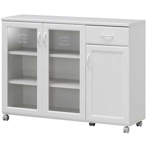 エレガントで高級感のあるキッチン収納シリーズ 白井産業 セシルナ CEC-8511CWホワイト