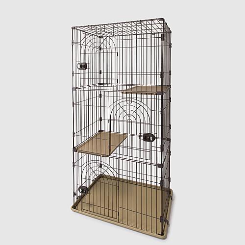 大好き猫のお部屋 キャットケージ 3段 チョコブラウン ペットサークル ペットケージ 猫 キャットハウス サークル ケージ ハウス コーナン