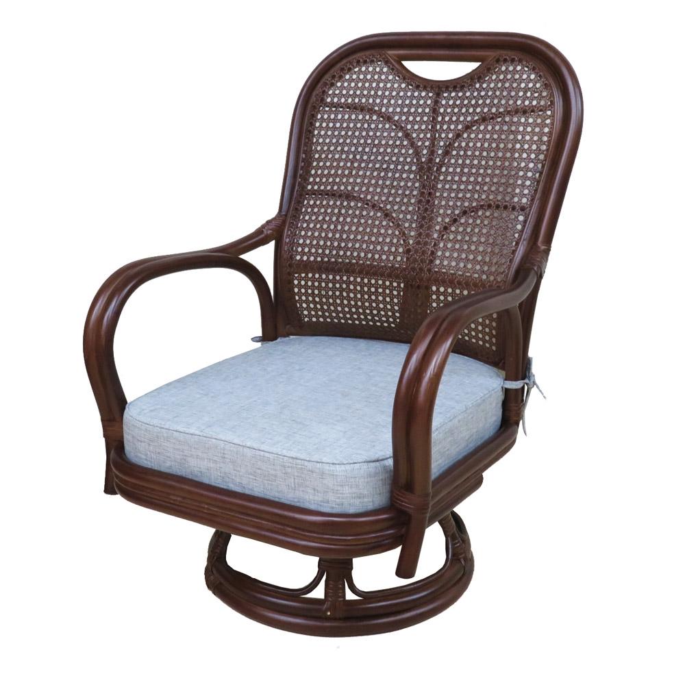 コーナン 籐回転座椅子 中 ハイバック DBRダークブラウン