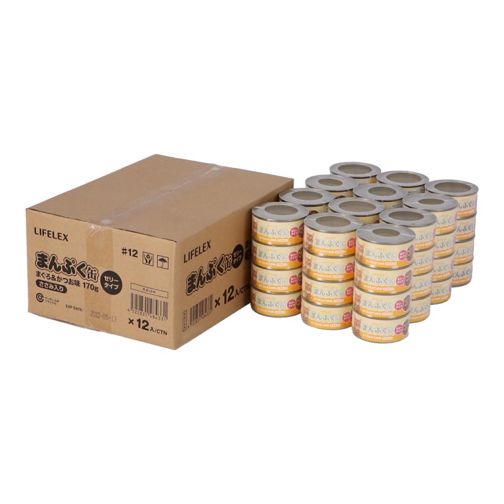 マーケット お得な4缶パックの12個セットです コーナンオリジナル まんぷく缶 まぐろ かつお ささみ入り ×12個セット 170g×4缶パック ゼリータイプ バースデー 記念日 ギフト 贈物 お勧め 通販
