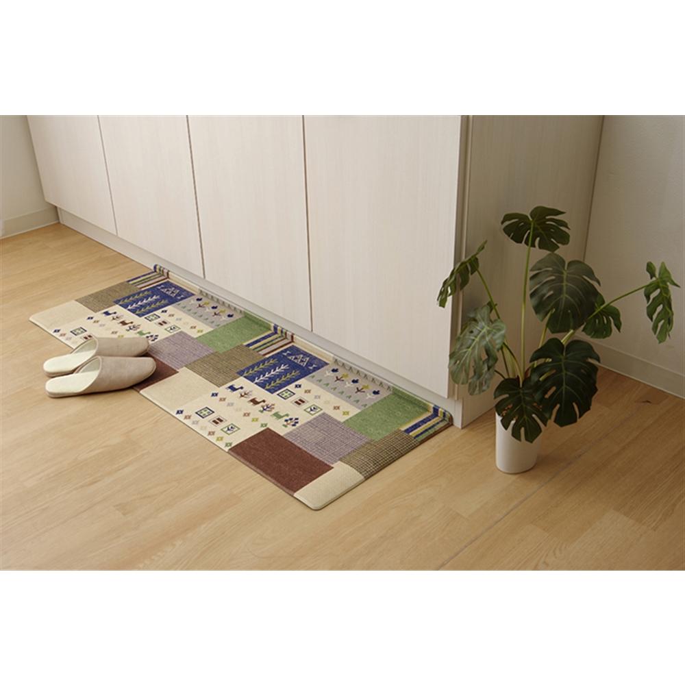 イケヒココーポレーション キッチンマット PVC使用 抗菌防臭 ベージュ 約45×220cm 裏:すべりにくい 「PVC ピーク キッチンマット」