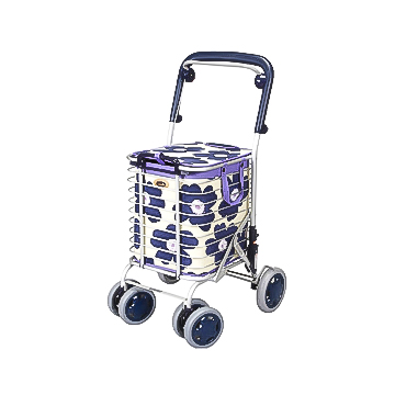 スーパーの買い物カゴを載せてそのままお買い物 送料無料 アルミワイヤーカート 通信販売 A-0245H 超安い 花柄青 オシャレ ショッピングカート 買い物カート ブレーキ付