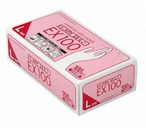 天然ゴム極うす手袋EX100 / Lサイズ 07621 1箱 100枚入 *ケース配送(20箱入)