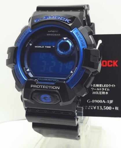 【あす楽対応】G-SHOCK 高輝度LEDバックライト ブラック ブルー G-8900A-1JF