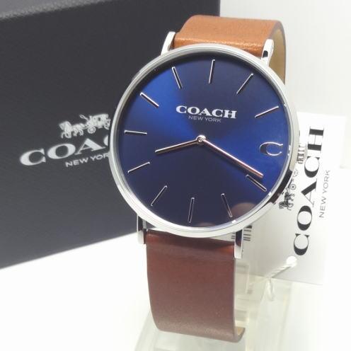 【あす楽対応】COACH コーチ 41mm メンズレザーベルト ブルー/ブラウン 14602151