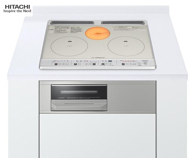 HITACHI IHクッキングヒータービルドインタイプ(2口IH+1口ラジエント幅60cm 色:シルバーHT-K60S(S)