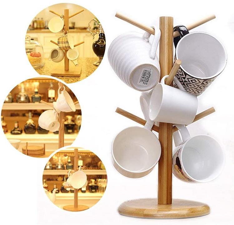 天然素材のぬくもりと美しさを 竹製コップ収納セット カップスタンド 竹製マグカップツリー カップラック 水切り おしゃれ 木製 カップ収納 乾燥 収納 コーヒーカップ 小物 お得セット 日本限定 送料無料 ホルダー