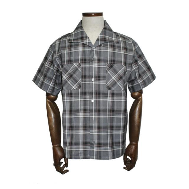 [送料無料]グッドロッキンチーティングラウンジCLS-086グレー&ピンクチェック半袖イタリアンカラーシャツGood Rockin