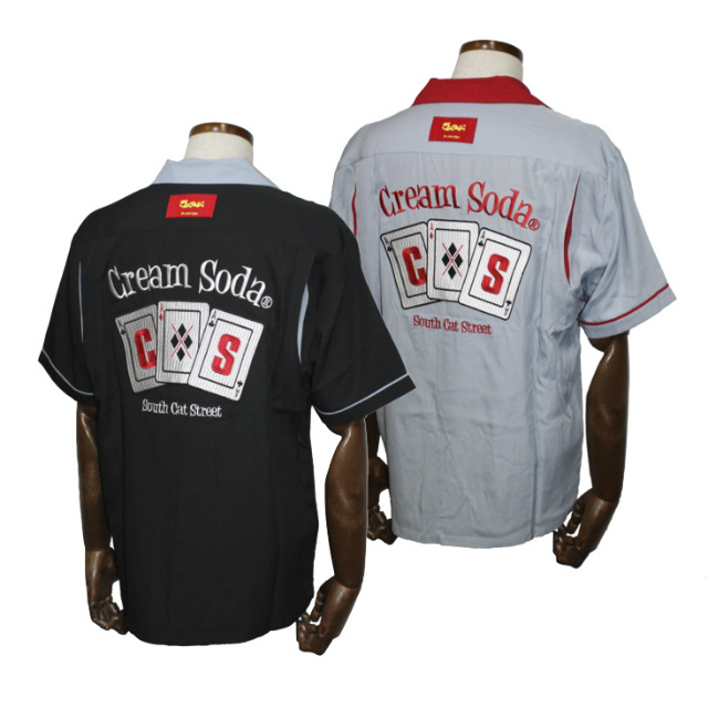 CREAM SODACSトランプ刺繍シャツブラックグレー/グレーレッドクリームソーダ