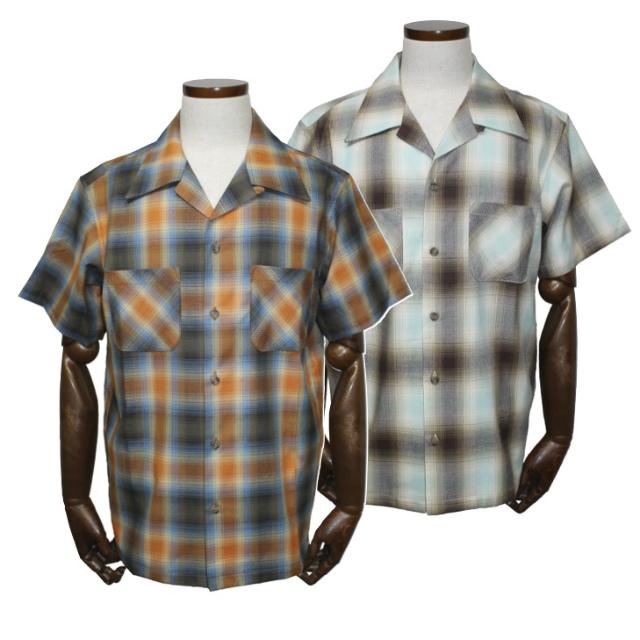 [送料無料]グッドロッキンCLS-108 ドビーオンブレオープンシャツオレンジブルー/ミントブラウンGood Rockin