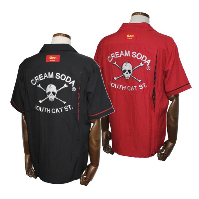 CREAM SODACSドクロ刺繍シャツブラック/レッドクリームソーダ