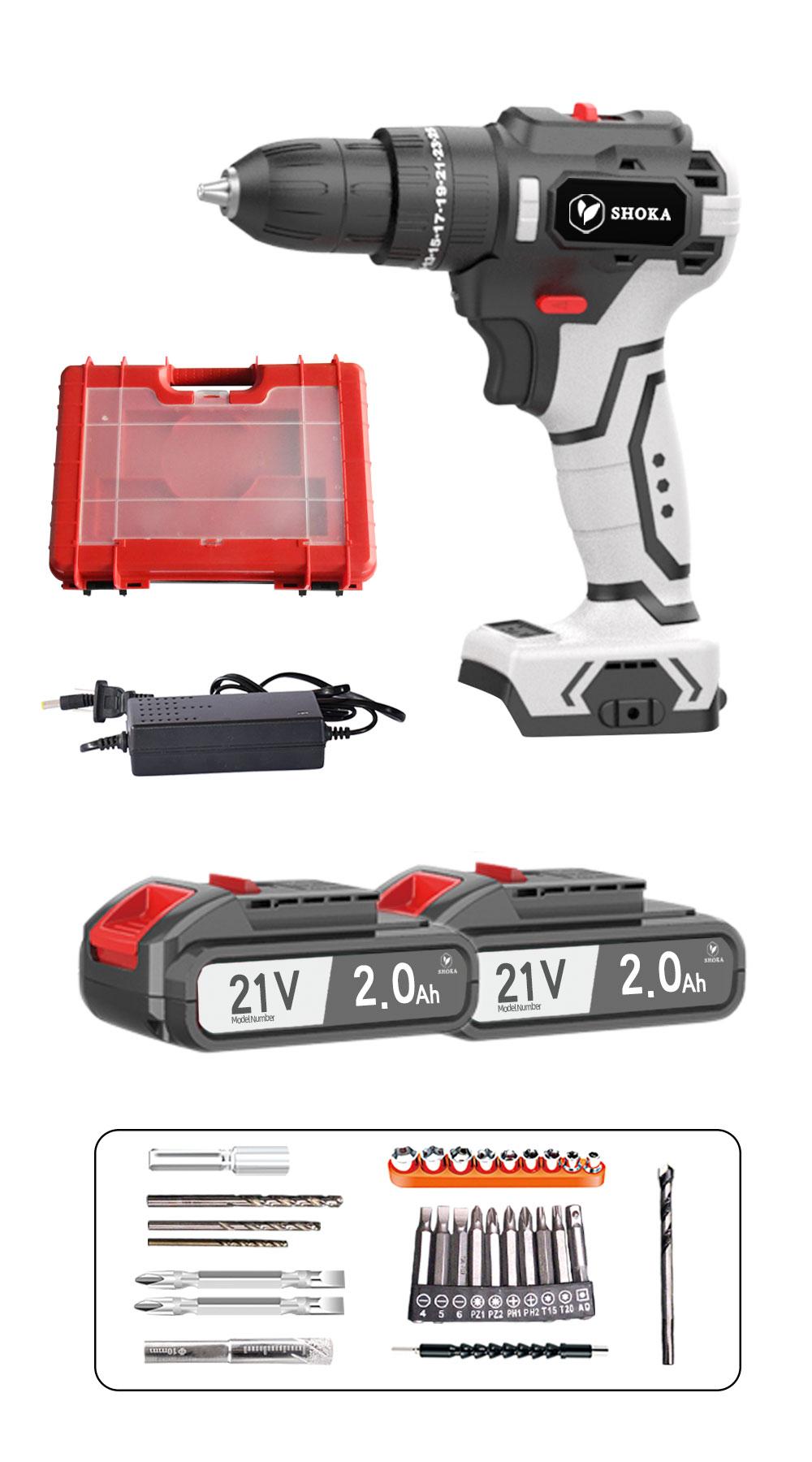 2021最新版 電動ドリル 21V2.0Ahバッテリー2個 ドリルドライバー コードレスドリルドライバー 卸直営 21V ケース付 充電器 充電式ドリル 日本語取扱説明書付き 開店記念セール 1台3役