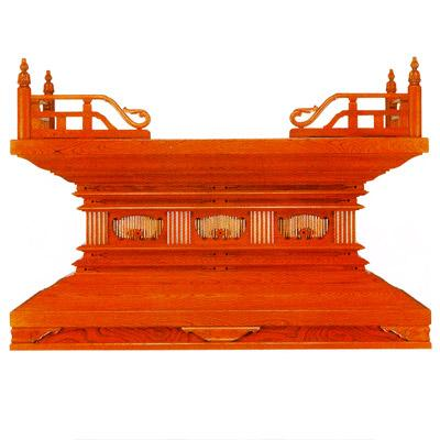 【寺院用】 須弥壇 欅唐様三間造り 天板張り欅材使用框巾5尺(150cm) 別上品(ウレタン塗)