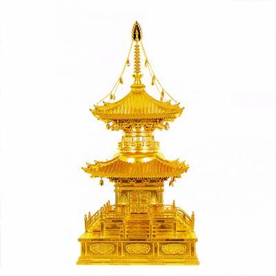 【寺院用】 多宝塔 本金箔押 金具打下屋根張り8寸(24cm)【配送区分:h】宅配便のみ・一部地域除き||送料無料||