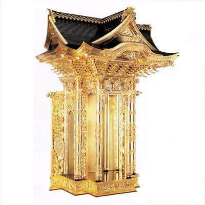【送料無料】西用本宮殿 本金箔押 金具打 出隅三方妻屋根造り カシュー塗 4尺(120cm)