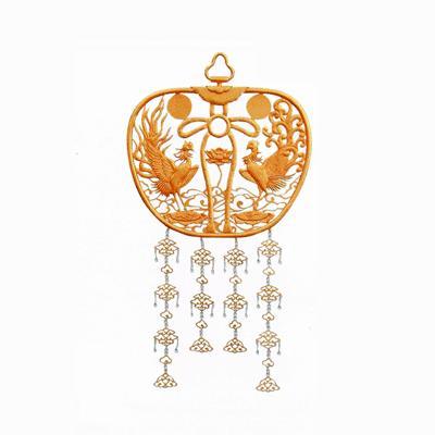 寺院用 金華鬘(かねけまん/きんけまん) 雲上鳳凰型 銅地 消メッキ 金物珱珞付 1尺(30cm)
