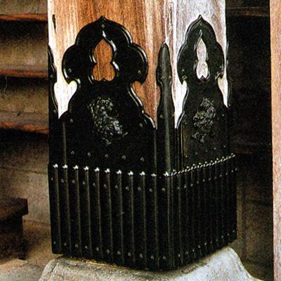 柱根巻金具(はしらねまきかなぐ) 銅製黒塗獅子付 7寸【配送区分:h】宅配便のみ・一部地域除き||送料無料||