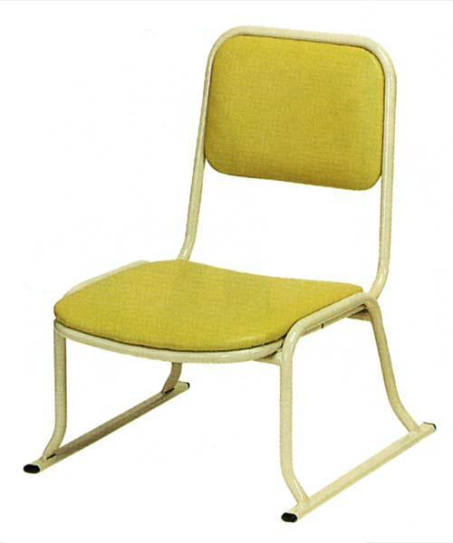 【寺用・寺院用/在家用/和室設備】本堂椅子(畳に使える和室/お座敷用チェア)W47×D49×H60 座面高(座高)26cm[アルミ製] 背もたれ付き