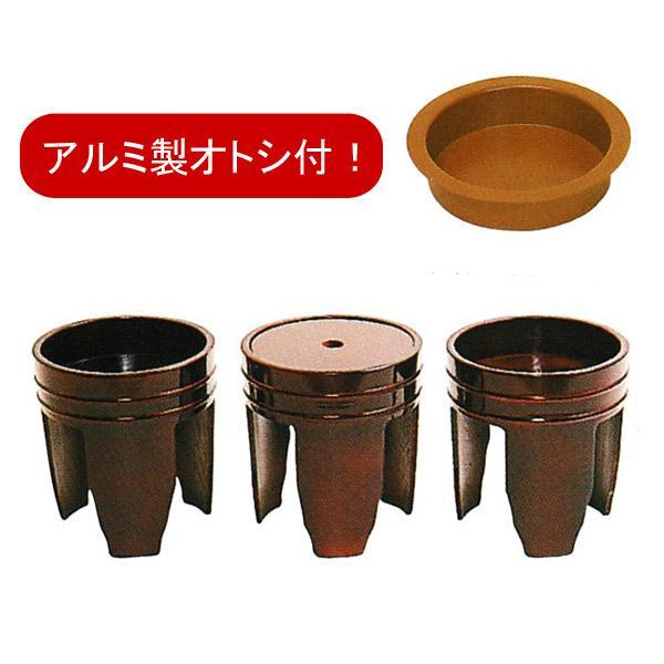 【日本製】施餓鬼桶(施食桶)3ヶ1組 春慶風塗 直径 6寸(18cm)×高さ20cm